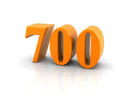 Geel metallic nummer 700 op een witte achtergrond. Digitaal geproduceerd beeld.