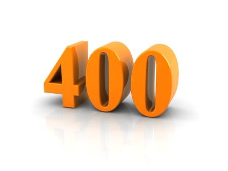 Yellow metallic number 400 on white background. Digitally generated image.