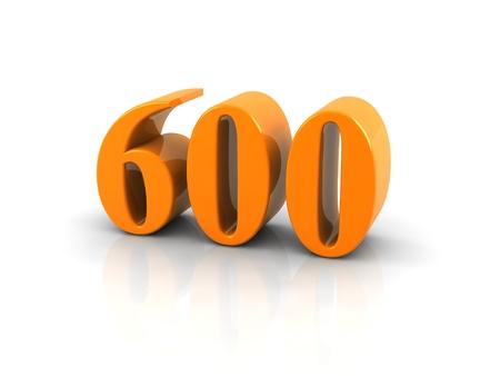 Geel metallic nummer 600 op een witte achtergrond. Digitaal gegenereerde afbeelding.