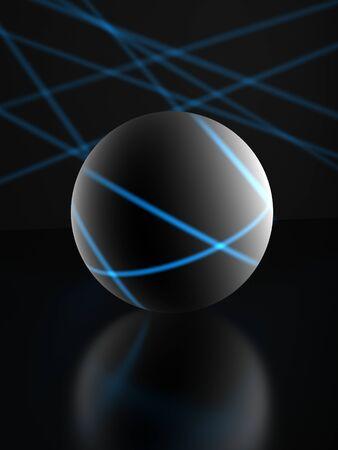 illuminate: gray sphere on dark background,blue ray of lights illuminate it. Stock Photo