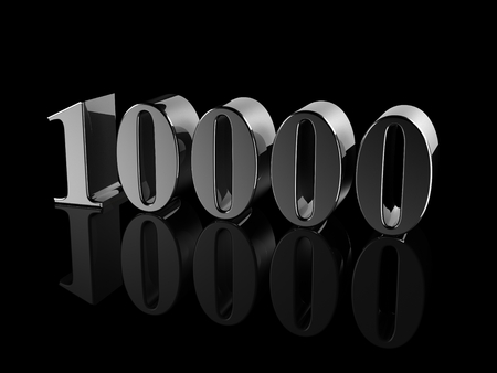 quantity: black metallic number 10000 on black background, digitally generated image. Stock Photo