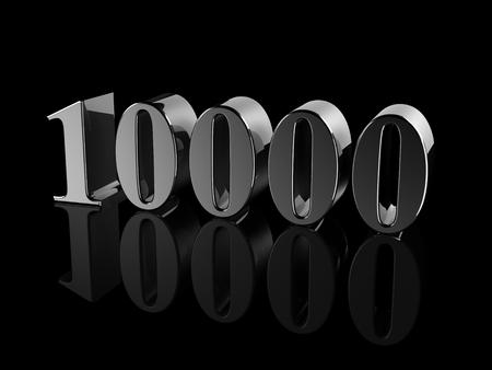 black metallic number 10000 on black background, digitally generated image. Standard-Bild