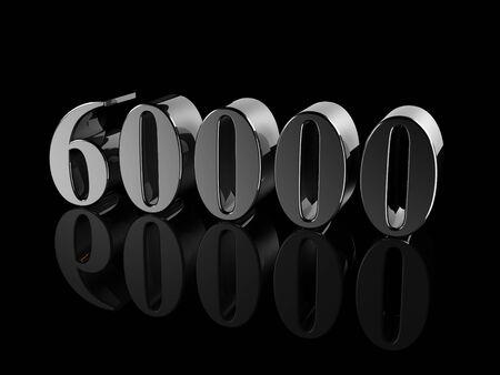 quantity: black metallic number 60000 on black background, digitally generated image.