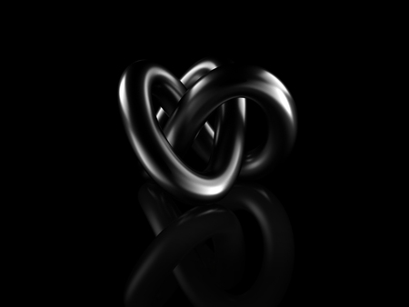 black metallic abstract shape on black background, digitally generated image.