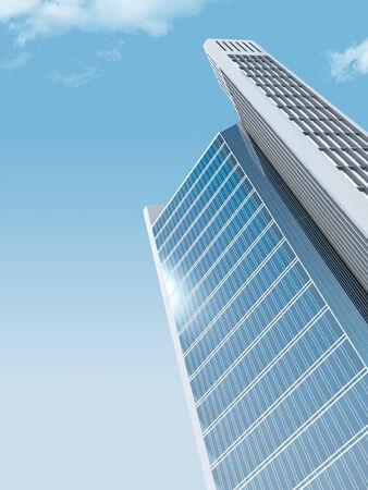 skyscraper sky: single skyscraper on sky background, digitally generated image.