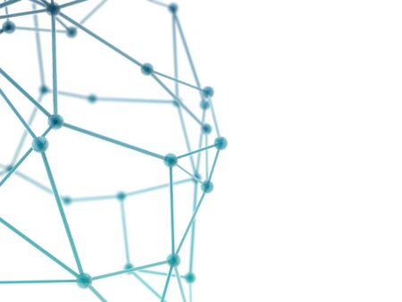 plexus: glass nerve plexus model on white background with depth of field blur. Stock Photo