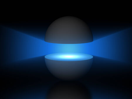 ray light: blue light ray between two gray Semi spheres, digitally generated image. Stock Photo