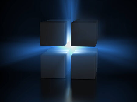 light ray: blue light ray between two gray cubes, digitally generated image.