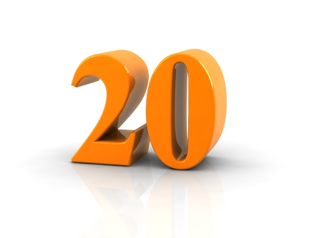 geel metallic nummer 20 op een witte achtergrond.