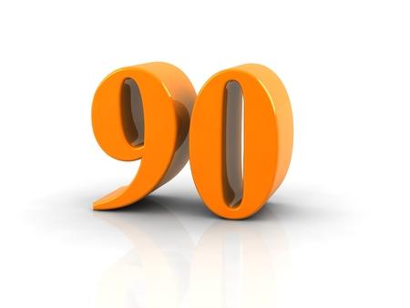 90: yellow metallic number 90 on white background. Stock Photo