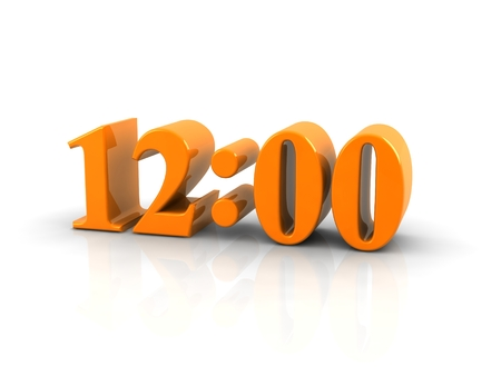 number 12: yellow metallic time number 12 o clock on white background. Stock Photo