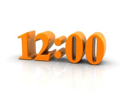 12 o'clock: yellow metallic time number 12 o clock on white background. Stock Photo