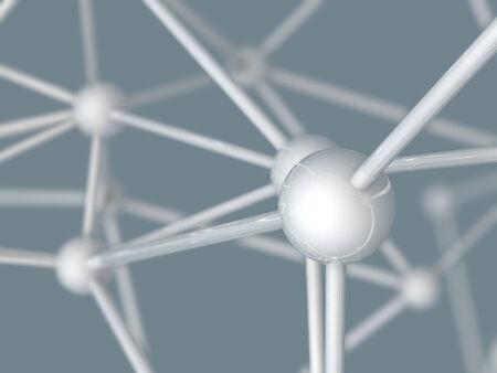 plexus: white metallic nerve plexus model on gray background  Stock Photo