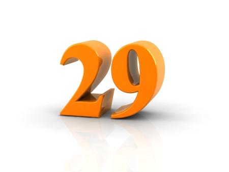29: yellow metallic number 29 on white background.
