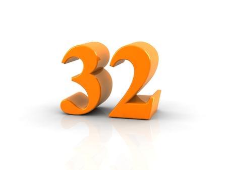 32: yellow metallic number 32 on white background.