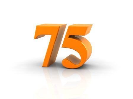 Geel metallic nummer 75 op een witte achtergrond. Digitaal geproduceerd beeld. Stockfoto