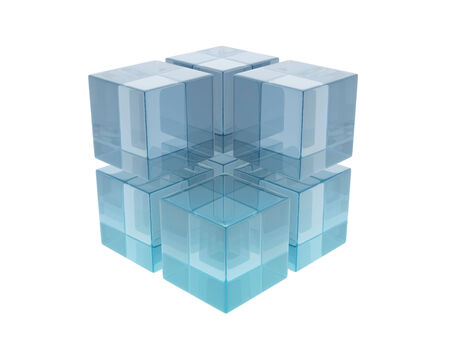 Glass cubes on white background. Digitally generated image photo