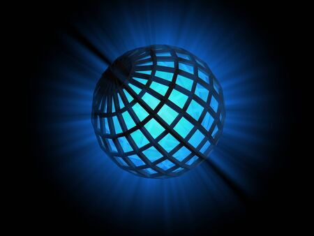 diffuse: Blue light ray diffusing from abstract sphere shape, digitally generated image. Stock Photo