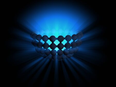 diffuse: Blue light ray diffusing from abstract semisphere shape, digitally generated image.