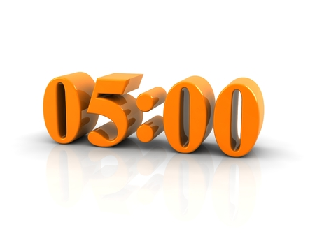 o'clock: yellow metallic time number 5 oclock on white background, digitally generated image. Stock Photo