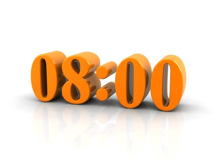 oclock: yellow metallic time number 8 oclock on white background, digitally generated image. Stock Photo
