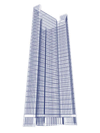 single skyscraper mesh isolated on white background. Stock Photo