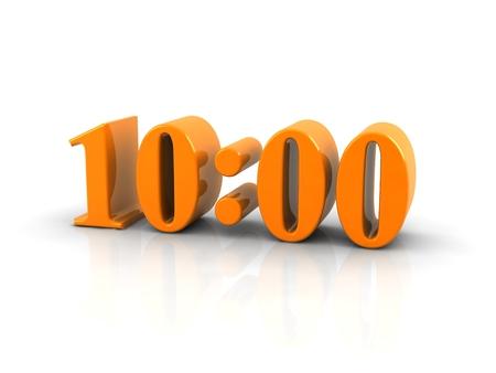 number 10: yellow metallic time number 10 o clock