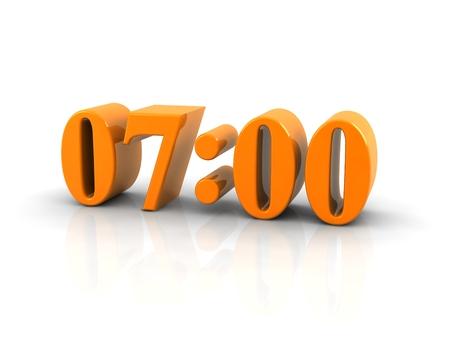 seven o'clock: yellow metallic time number 7 o clock Stock Photo