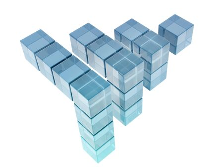 digitally generated image: glass cubes on white background. digitally generated image