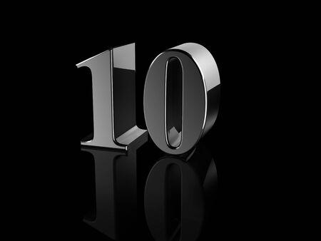 number 10: black metallic number 10