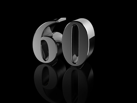 sixty: black metallic number 60 on black background, digitally generated image.