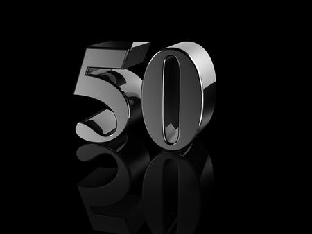 50 number: black metallic number 50 on black background, digitally generated image.