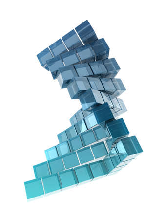 dense: glass cubes on white background
