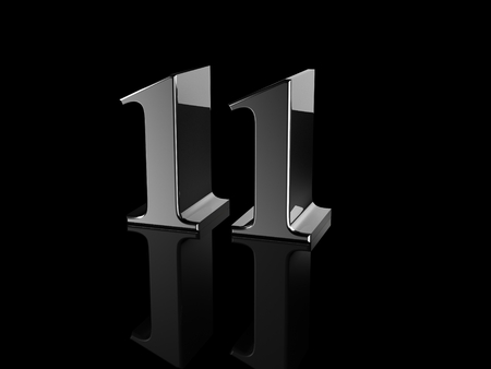 number 11: black metallic number 11 on black background