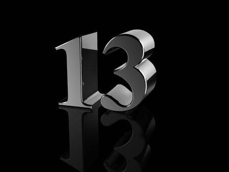 number 13: black metallic number 13 on black background