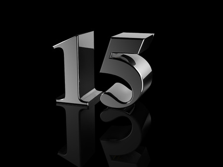 number 15: black metallic number 15 on black background Stock Photo