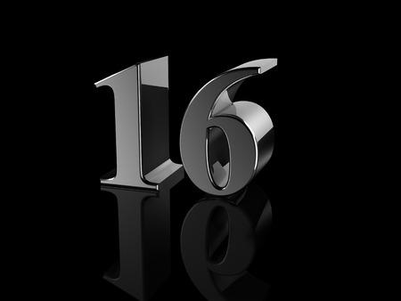 number 16: black metallic number 16 on black background