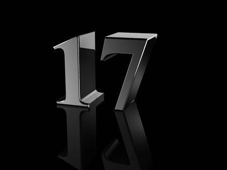 17: black metallic number 17 on black background