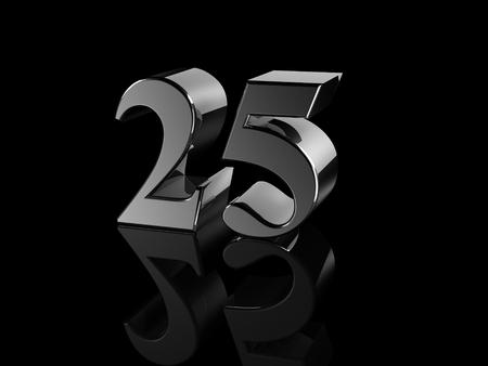 25: black metallic number 25 on black background