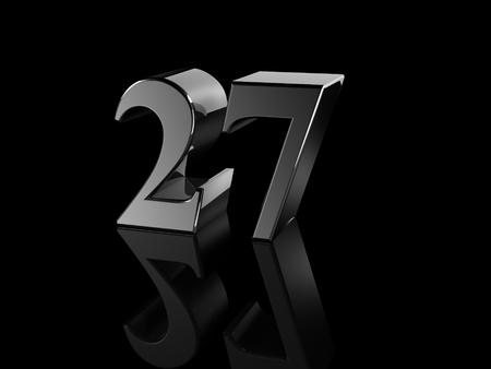 27: black metallic number 27 on black background