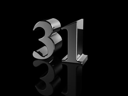 31: black metallic number 31 on black background