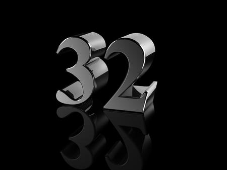 32: black metallic number 32 on black background