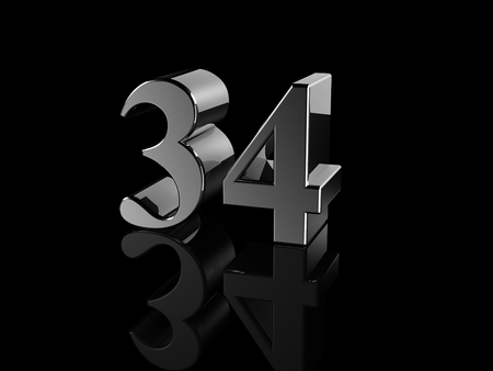 34: black metallic number 34 on black background  Stock Photo