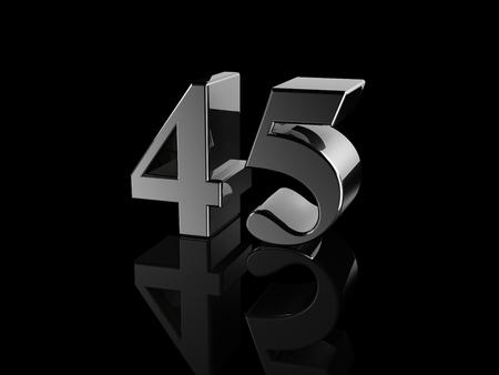 45: black metallic number 45 on black background