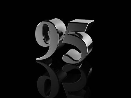 95: black metallic number 95 on black background