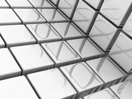 digitally generated image: metallic cubes on gray background, digitally generated image