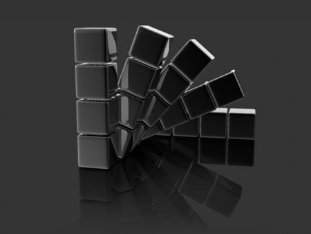 digitally generated image: metallic cubes on black background, digitally generated image