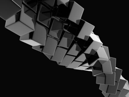 ��digitally generated image�: metallic cubes on black background, digitally generated image