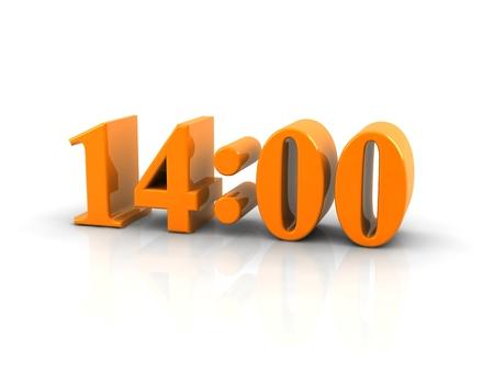 o'clock: yellow metallic time number 14 oclock on white background, digitally generated image. Stock Photo