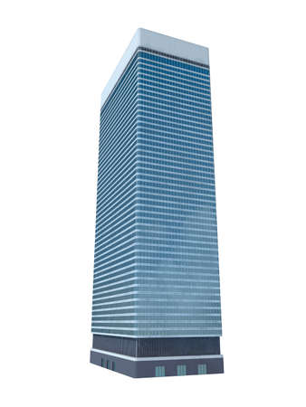 refraction: single skyscraper isolated on white background,digitally generated image.